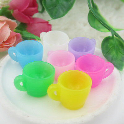 5x Random Miniature Dollhouse Resin Colorful Tea Coffee Cup Kitchen Food Home