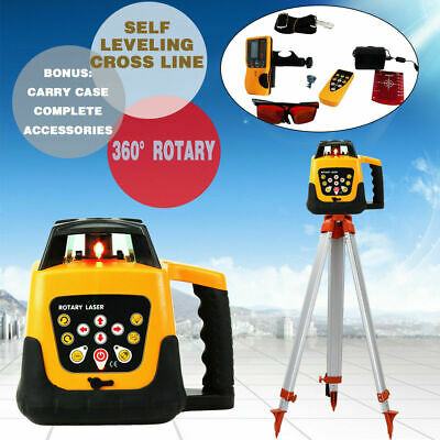 500m Range Self-leveling Laser Level Rotary Rotating Red Beam w/ Tripod + Staff
