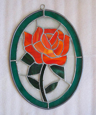 """Vintage Stained Glass Decor Hand crafted Art Rose Flower Suncatcher 12.5""""large"""
