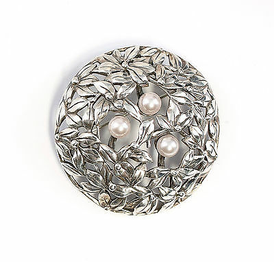 925 Silver Floral Art Nouveau brooch with synthetic Pearls a8-01520