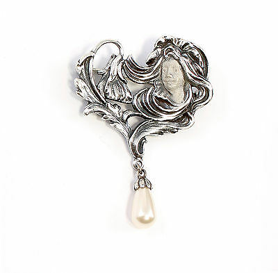 925 Silver floral Art Nouveau Brooch Woman with synthetic Bead a8-01572