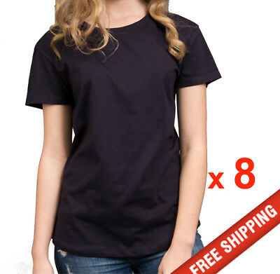 8 pieces ladies t-shirts 100% combed soft cotton stock in aus FREE shipping navy