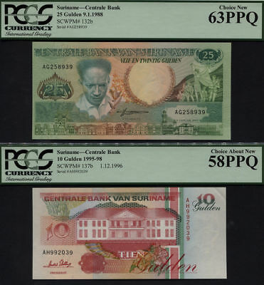 TT PK 132b & 137b 1995-88 SURINAME 10 & 25 GULDEN PCGS 58 & 63 PPQ SET OF TWO!