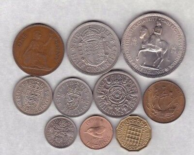 1953 Queen Elizabeth Ii Set Of 10 Coins Very Fine To Near Mint Condition