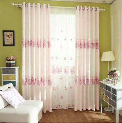 Pink Shading Cloth Curtain & Sheer Tulle Living Room Screen Window Drape 1 Piece