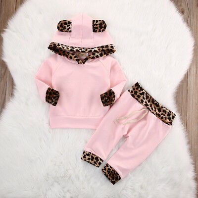 UK Toddler Baby Girls Winter Outfits Clothes Hoodie Tops+Pants 2PCS Outfits Set