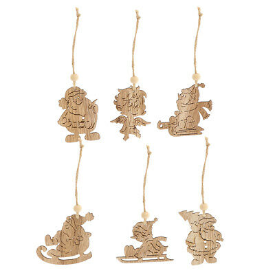 6pc Wood Christmas Decorations Xmas Tree Snowman Santa Claus Angle Ornaments