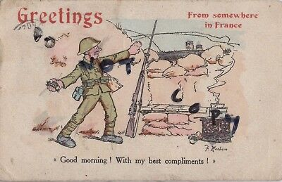 Ww1 military art comic greetings card fergus mackain british tommy ww1 military art comic greetings card fergus mackain british tommy in trench m4hsunfo