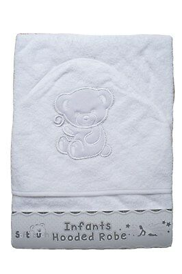 Baby boys girls infant white Soft Touch Teddy Bear cotton hooded towel robe