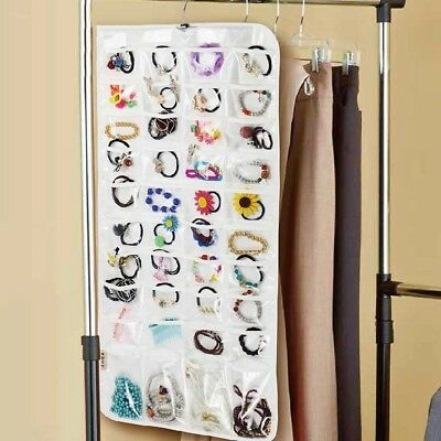 72 Pockets Hanging Jewelry Organizer Gadgets Ring Necklace Holder