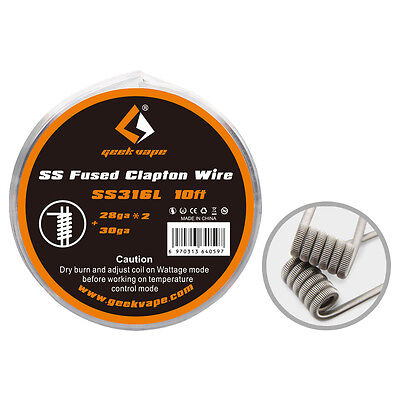 GeekVape -Fused Clapton Wire - SS316L - 0.5mm x 2 + 0.2mm 3 Metre (10') Spool