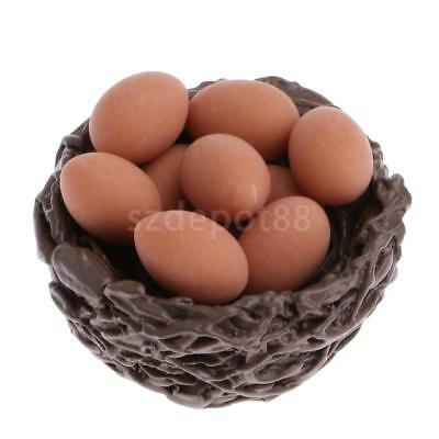 1/12 Scale Dollhouse Miniature Accessories Chicken's Nest with 10 Eggs Set