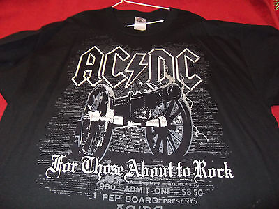 Ac Dc -For Those About To Rock--Black Short Sleeve T-Shirt-Size Xl-Excellent!