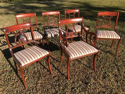 Drexel Antique Set Of 6 Matching Harp Back Duncan Phyfe Chairs Very Nice
