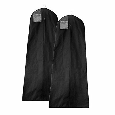 Pack of 2Miulee 72 Inch Black Breathable Non-woven Fabric Garment Bag For Wed...