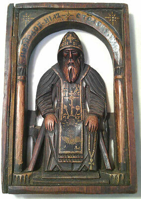 Antique Carved Wooden Russian Icon of Saint Nil - 18th / 19th century