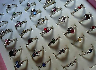 JOB LOT 10 Sparkly RHINESTONE & Alloy Rings Ideal 4 PARTY BAG GIFTS