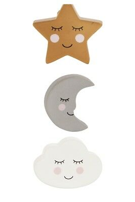 Sass & Belle Gold Star Moon Cloud Shape Drawer Knob Cupboard Childrens Furniture