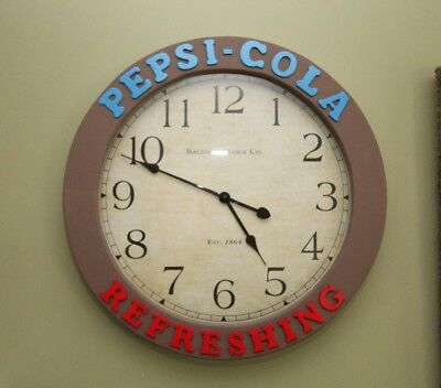 "Large Custom  Made ""Pepsi Cola Refreshing"" Clock for Home, Bar or Man Cave  24"""