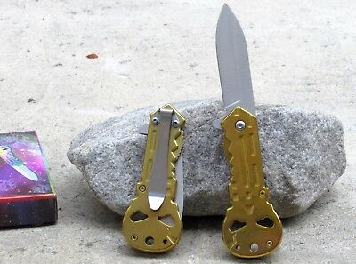 New Gold Punisher Skull Logo Spring Assisted Folding Tactical Pocket Knife Blade