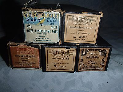 5 Antique Player Piano Rolls QRS-Misc. Brands,Religious Mixture~C Listing-TR/GR7