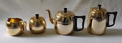 Vintage C1960's Rose Gold Colour Anodised Aluminium Towerbrite Tea Set - England
