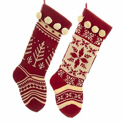 Set of 2 Knit Stockings Red & Cream Christmas Mantel Decor Vintage Assorted New