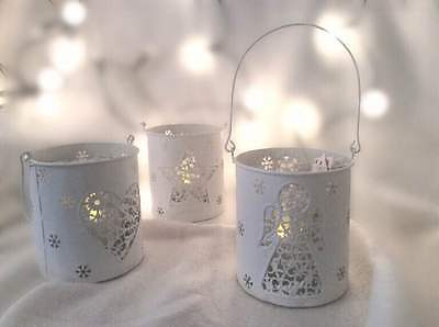 Christmas Metal Hanging T Light Holder Candle Decoration Heart Star Angel White