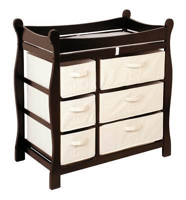 Badger Basket Changing Table w Six Baskets in Espresso Finish [ID 49798]