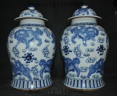 """康熙"" Old Dynasty Blue&white porcelain Foo dog lion Beast pot tank bottle Crock"