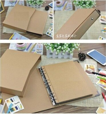 9-ring binder Burlap Hessian DIY Scrapbook Sketchbook Wedding Party + Hard Case