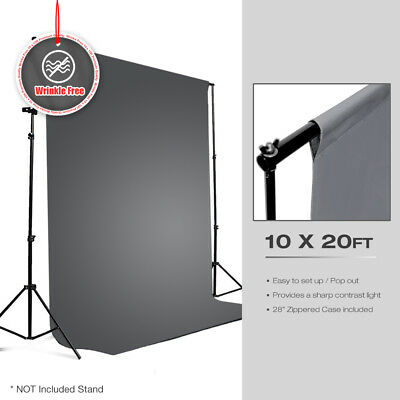 10 x 20ft Gray Muslin Backdrop Polyester Photography Background Photo Studio