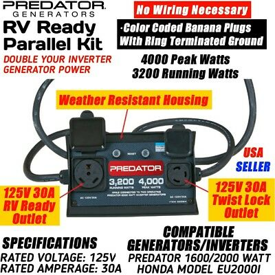 NEW Predator RV Ready Generator Inverter Parallel Kit Two Outlets 125V 30A