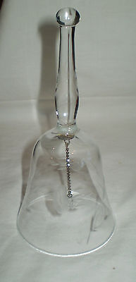 Vintage Fine Crystal Hand Bell With Raised Floral Pattern And Crystal Donger