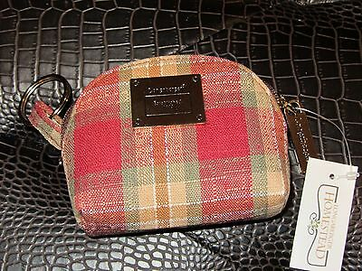 Longaberger COIN PURSE - ATTACHED KEY Ring ~ ORCHARD PARK PLAID Fabric~NWT