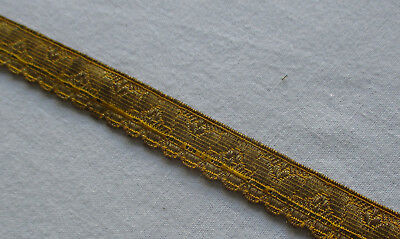Two Pieces Vintage Gold Metallic Trim Stylized Leaf Design Nice Patina French
