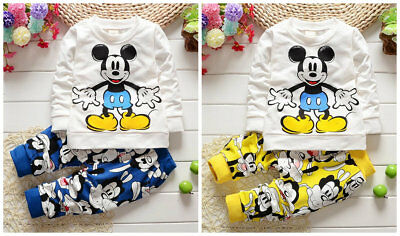 toddler Baby kids boys clothes cotton 2-pieces pullover top+pants cartoon