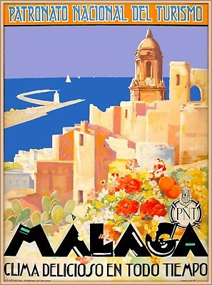Malaga Spain Spanish Riviera Seashore Vintage Travel Advertisement Poster Print
