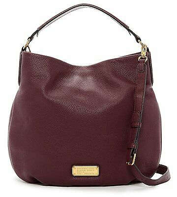 NWT Marc by Marc Jacobs New Q Hillier Convertible Leather Hobo Bag - Dark Wine