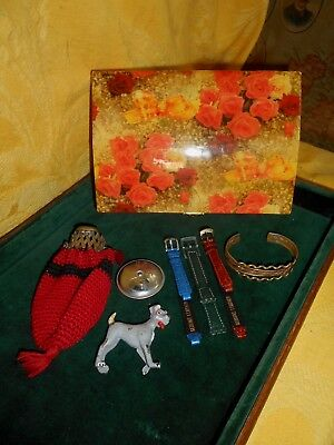 antique mixed lot,of bag,box lacquered,bracelet copper brass dog of plastic
