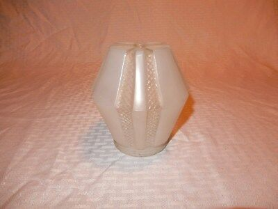 Cool vintage art deco frosted glass geometric pattern light fixture lamp shade