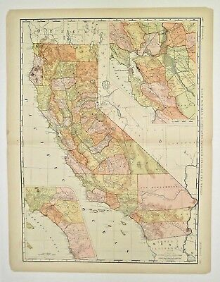 """Authentic 1895 Rand McNally's Map of """"CALIFORNIA"""""""