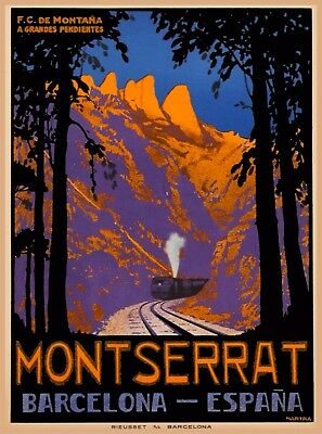 Montserrat Barcelona Spain Espana Vintage Spanish Travel Advertisement Poster