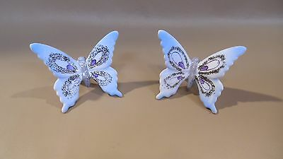 2 VINTAGE hand painted NORCREST butterfly NAPKING RING holders..MIJ  !!