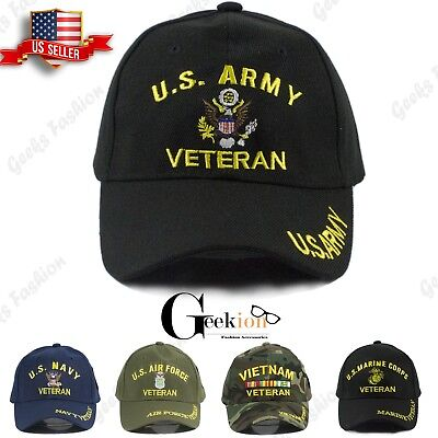 MENS ARMY NAVY Marine Air Force Vietnam Korea Veteran Military Baseball  Hats Cap