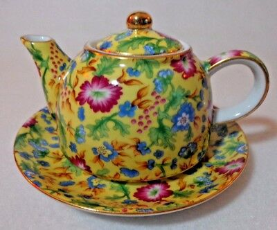 Vintage Chintz Caroline Two's Company Yellow Blue & Pink Flowers Teapot & Saucer