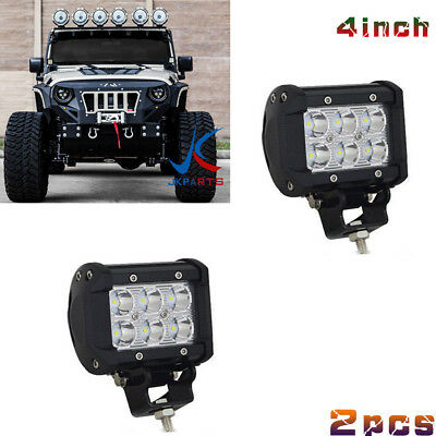 Pair 4inch 18W CREE Led Work Light Bar Driving Spot Offroad 4WD Truck Atv Utep