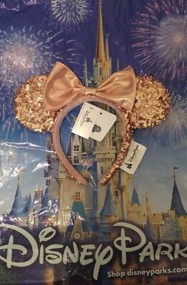 NWT Authentic Disney Parks Minnie Mouse Rose Gold Champagne Ears