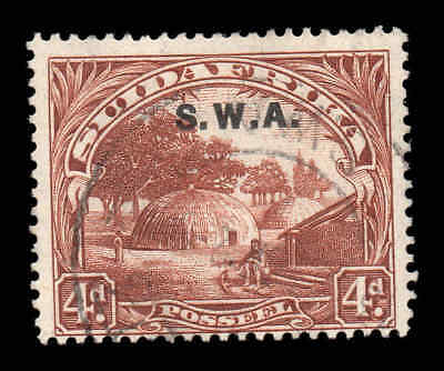 South West Africa SWA 1927 o/p on 4d p14 SG 62 single used