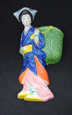 Vintage Made in Japan Pottery Multi Color Geisha with Basket Wall Pocket